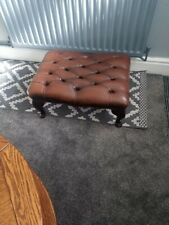 Large Brown Leather Chesterfield Footstool Used