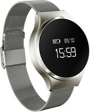 Silver Fitness Tracker Watch-Heart Rate Monitor, Pedometer,Receive Notifications