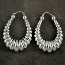 Sterling Silver Plated Oversized X Large Chunky Lightweight Oval Hoop Earrings