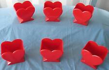 "6 pcs. New Valentine 4.5"" Red Heart Vase Florists FREE SHIPPING!"