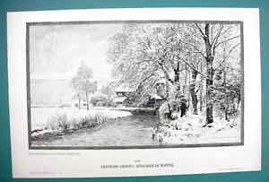 WINTER SOLITUDE Stream Mill Trees by LUNDBY - VICTORIAN Era Print