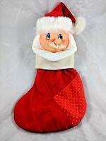 """Nylon Santa Claus Christmas Stocking 16"""" Vintage"""