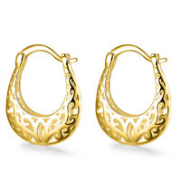 18K Gold Filled Filigree Diamond Cut Filigree French Lock Hoop Earring ITALY