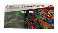 Keepsakes Deluxe Puzzle 2 Pack -Two 1,000 PC. Jigsaw Puzzles - Birds, Souvenirs