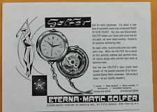 Eterna-Matic Golfer Pocket Watch Vintage Magazine Print Ad 1959