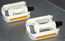 White Resin Platform BMX Pedals / White 1/2 Pedals For One Piece Cranks NEW!