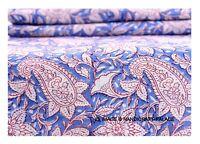 Indian Blue Floral Cotton Hand Block Print Dressmaking Fabric Craft 3 Yard