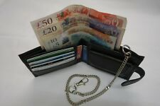 Soft Leather Wallet with Security Chain RFID PROOF Black