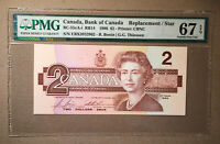 Canada BC-55bA-i 1986 $2 Thiessen | Crow S/N EBX Replacement PMG 67 EPQ Top Pop!