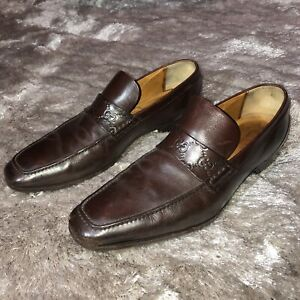 Authentic GUCCI Italy Brown Leather GG Monogram Vibram Soles Penny Loafers 9.5 D