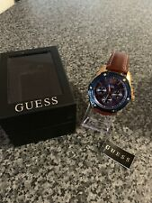 Mens Guess Flagship brown leather strap watch W0600G3