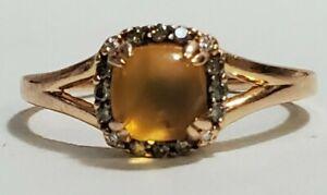 Le Vian 14K Strawberry Gold Neopolitan Opal & Chocolate Diamond Ring size 8.75