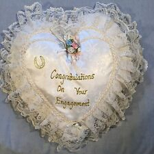 Heart Shaped Engagement Cushion - White & Cream + Lacey Frills