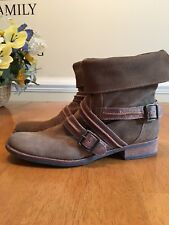 Matisse Prospector Brown Suede Ankle Boots Fold Over US Women's Size 9.5