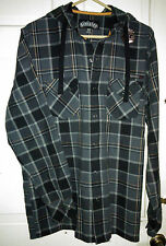 Sinister Ufc Flannel Hooded Jacket Black & Grey Plaid[M]Nwt Mix Martial Arts-New