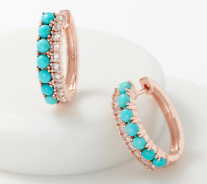 Sleeping Beauty Turquoise and Gemstone 14K Rose Gold Plated Earring