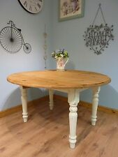 Shabby Chic Solid Pine Round Farmhouse Dining Table Extending Drop Leaf No Chair