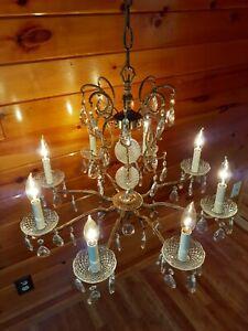 Antique French/Spanish Brass Chrystal Chandelier Light/Lamp, Victorian
