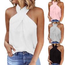Ladies Halter Neck Sleeveless T-Shirt Summer Beach Backless Tank Top Blouse Vest