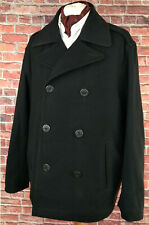 Levis Pea Coat Peacoat Overcoat Coat Black Wool Blend XXL 2XL
