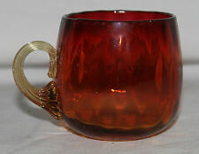 Amberina Punch Cup Diamond Optic Polished Pontil Applied Reed Handle