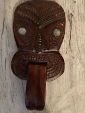Unique Maori Hand Carved Wood Face Mask Paua Eyes Hanging Wall Tongue Moves!