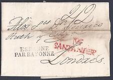 SPAIN 1827 SANDANTER IN RED TO LONDRES ESPAGNE PAR BAYONNE MARKING & CANCEL DATE