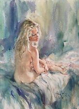 "RARE STUNNING ORIGINAL GORDON KING ""Over my Shoulder"" blond nude girl  PAINTING"