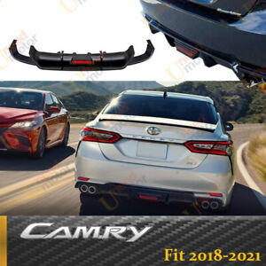 For 2018-2021 Toyota Camry Rear Bumper Lip Spoiler Lower Diffuser with LED Light