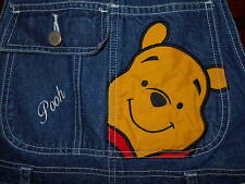 Disney Pooh Shortalls SMALL Womens Denim Blue Bibbed Carpenter Pants Jeans 6L23