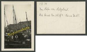 orig. Foto Helgoland Hafen Fischkutter Keen Tied Cuxhaven Nordsee Seefahrt 1934!