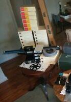 "Vintage Blue Da-Lite Flyer Projector Slide Screen Tripod 40"" x 40""  W/ Box"