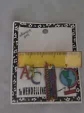 Pin W/ Abc Pencils Globe Dangles Vintage Noc Wendelline 1986 Teacher Whimsical