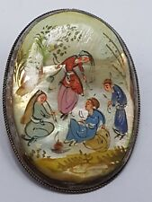 Antique Chinese Export brooch with Pearl Painting/Broche avec Perlmut peinture