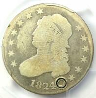 1824/2 Capped Bust Quarter 25C - Certified PCGS Good Details - Rare Date Coin!