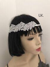 1920s Silver Leaf Appliqué Headband Headpiece Hairband Gatsby 30s Flapper