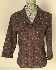 ANNE CARSON chocolate brown & ivory floral embroidered LINEN jacket L 14 UK NEW