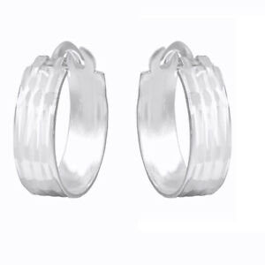 Modern 4mm Wide 14K White Gold Over Huggie Hoop Earrings For Women's