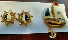 Vintage AVON Enamel Gold Tone Sailboat  Broach Pin Anchor Charm & Earrings Set