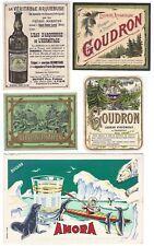 4 anciennes étiquettes, ARQUEBUSE GOUDRON VERVEINE +1 buvard publicitaire AMORA