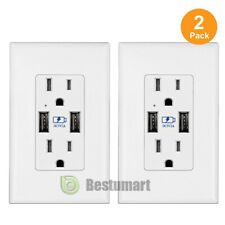 2Pack Dual USB Port Wall Socket Charger AC Power Outlet Plate Power Adapters 2A