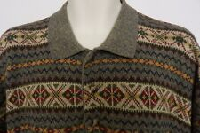 Gant Mens Hand Framed Geometric Cotton Polo 3 Button Long Sleeve Sweater Size XL