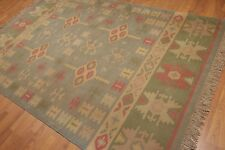 "6'4"" x 9' Extremely Fine Turkish Kilim Vintage Hand Woven 100% Wool Area Rug"
