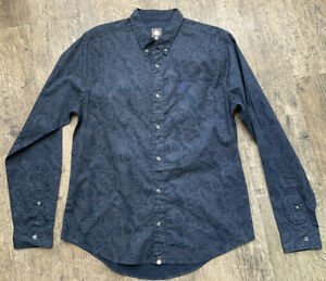 Mens Pretty Green Size M Paisley Blue Cotton Long Sleeve Shirt Vgc #BG
