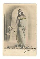 Cleo de Merode theater Long hair original vintage 1900s photo postcard /265