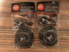Wilton HALLOWEEN Cupcake Kit 24 pc Picks Liner Skull Poison NEW in package