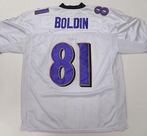 Reebok Baltimore Ravens Anquan Boldin #81 Jersey Mens 54 Autograph Sewn White