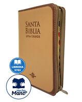 BIBLIA REINA VALERA 1960 LETRA GRANDE CON CIERRE DE 12 PUNTOS CAFE CON INDICE