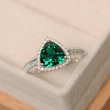 Green Emerald 2.05 CT Gemstone Rings Solid 14kt White Gold Ring Size M