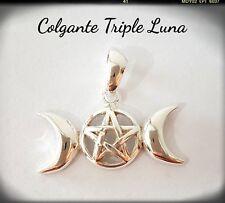 Triple Luna  Pentagrama Pagana Wicca Celta Colgante  Plata Ley 925 Pay The Ghost